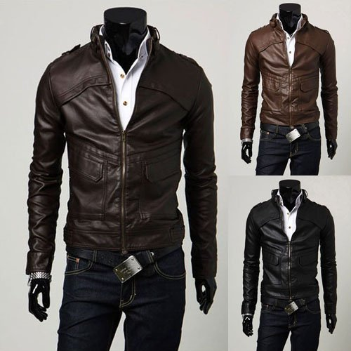 Winter Mens Leather Jackets Black And Brown Color